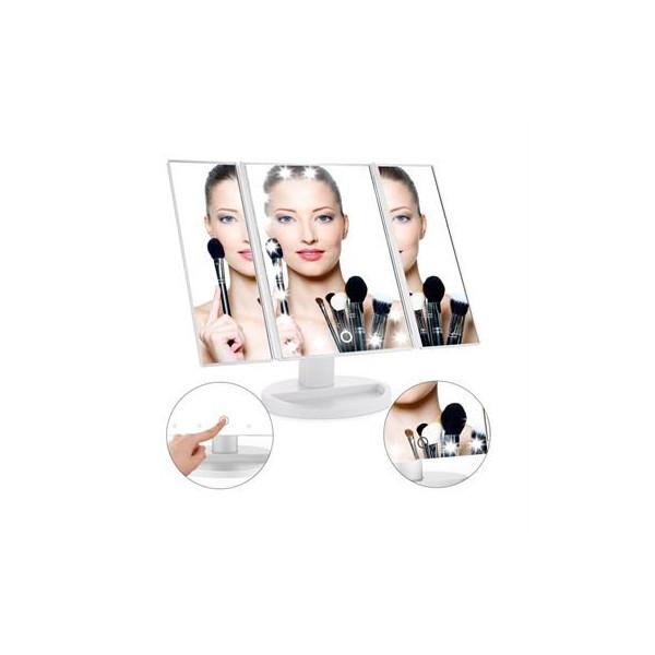 UNIQ LED Trifold Hollywood Makeup Spejl - Hvid
