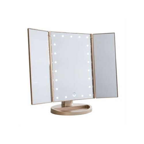 UNIQ LED Trifold Hollywood Makeup Spejl - RoseGold