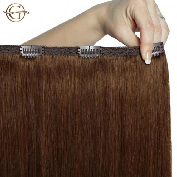 Gold24 Clip-on Hair Extensions 6 Lysbrun 50cm - 7 dele