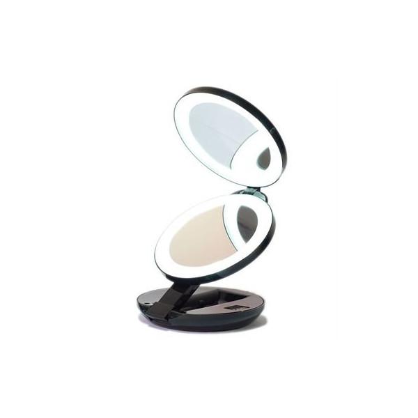 Kompakt dobbeltsiddet LED rejsespejl - Sort