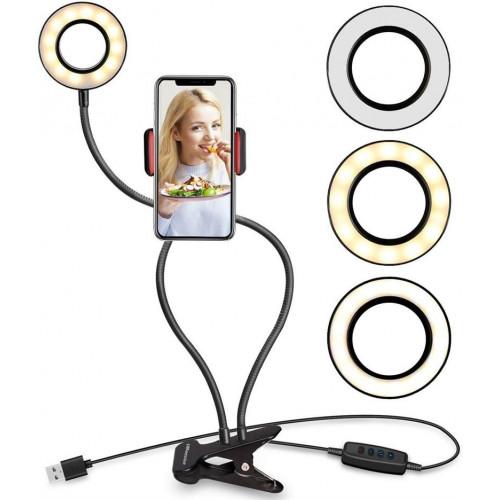 Selfie Ring Light med LED lys + justerbar arme