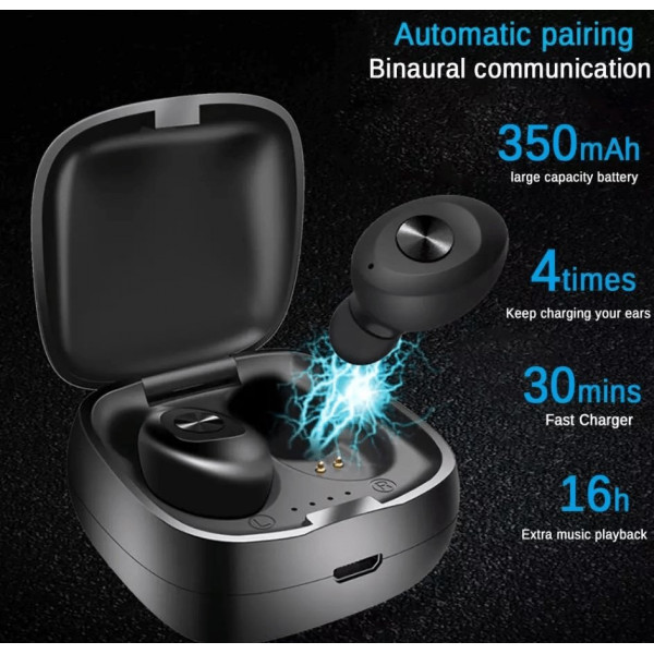 Bluetooth Trådløse Høretelefoner med ladeboks - TWS XG12, Sort