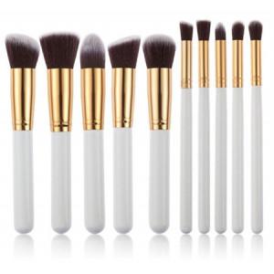 PRO Makeupbørster 10 stk - Hvid / Guld