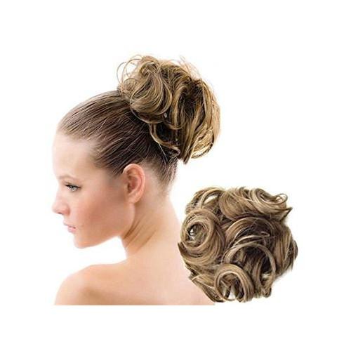 Bun Hårelastik med krøllet kunstigt hår - Dark Blond Mix