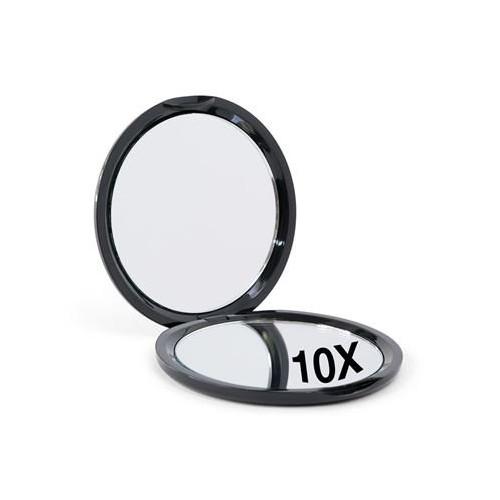 10x Forstørrelse Kompakt Dobbeltsidet Spejl - Sort
