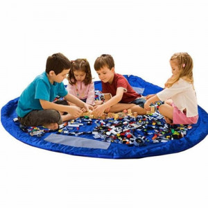 Playmat - Legetæppe & Opbevaringspose til Lego og Legetøj - Blå