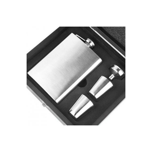 Uniq Deluxe Lommelærke gaveæske med tilbehør i børste stål
