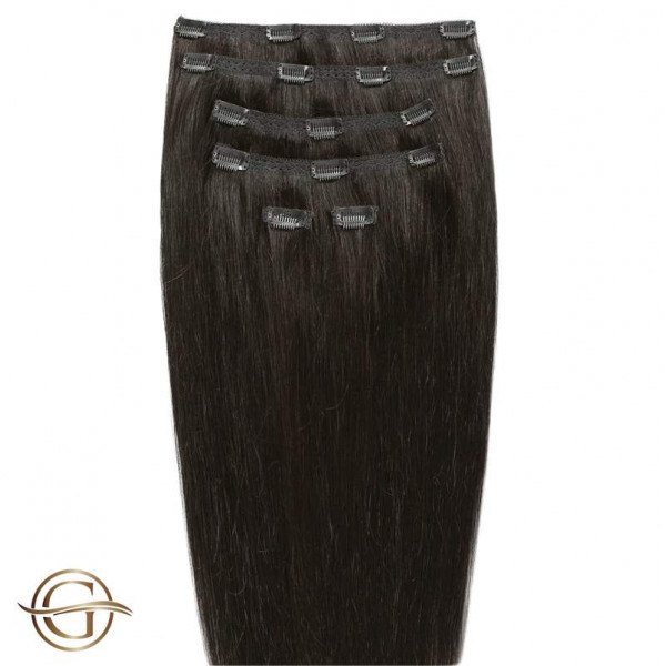 GOLD24 Clip-on Hair Extensions 2 Mørkebrun 50cm - 7 dele