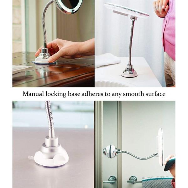 My Flexible Mirror - Flex spejl med LED lys & 10x forstørrelse