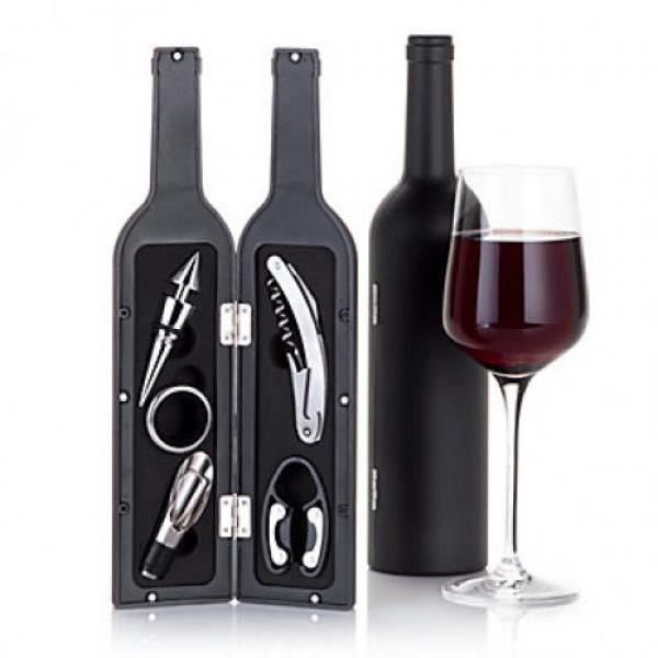 Deluxe 5 sæt vintilbehør - formet som flaske
