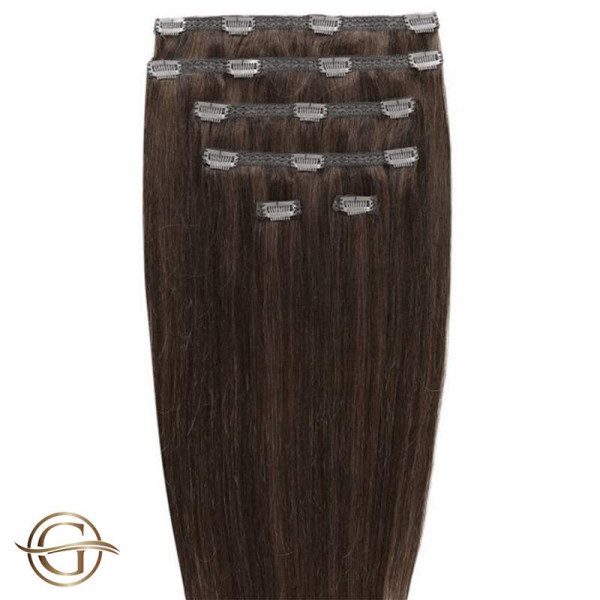 GOLD24 Clip-on Hair Extensions 4 Brun 50 cm - 7 dele