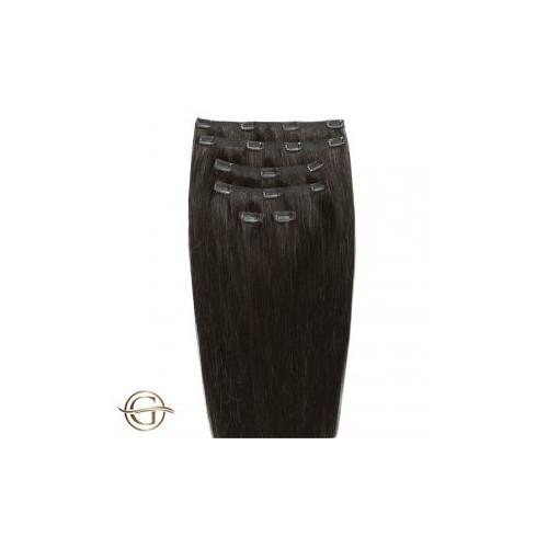 GOLD24 Clip-on Hair Extensions 2 Mørkebrun 60cm - 7 dele