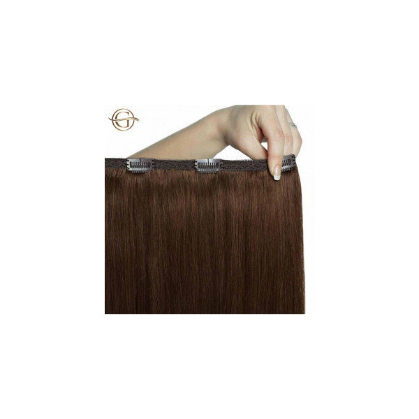 GOLD24 Clip-on Hair Extensions 4 Brun 60 cm - 7 dele