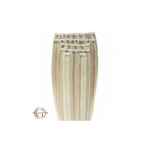 GOLD24 Clip-on Hair Extensions 27/613 Blondemix 50cm - 7 dele