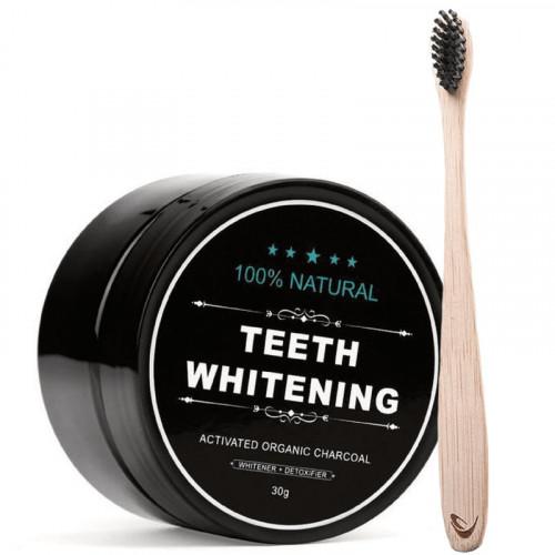 Tandblegning med aktivt kul + Bambus Tandbørste