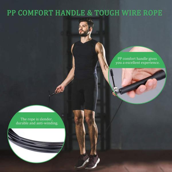 PRO Sjippetov / Speedrope til crossfit, træning og fitness, sort