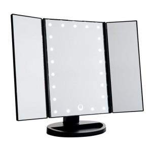 UNIQ® Trifold Hollywood Makeup Spejl Med LED Lys - Sort