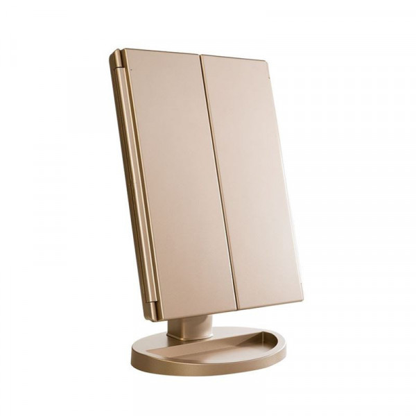 UNIQ® Trifold Hollywood Makeup Spejl Med LED Lys - RoseGold
