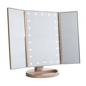 UNIQ® Trifold Hollywood Makeup Spejl Med LED Lys - RoseGold