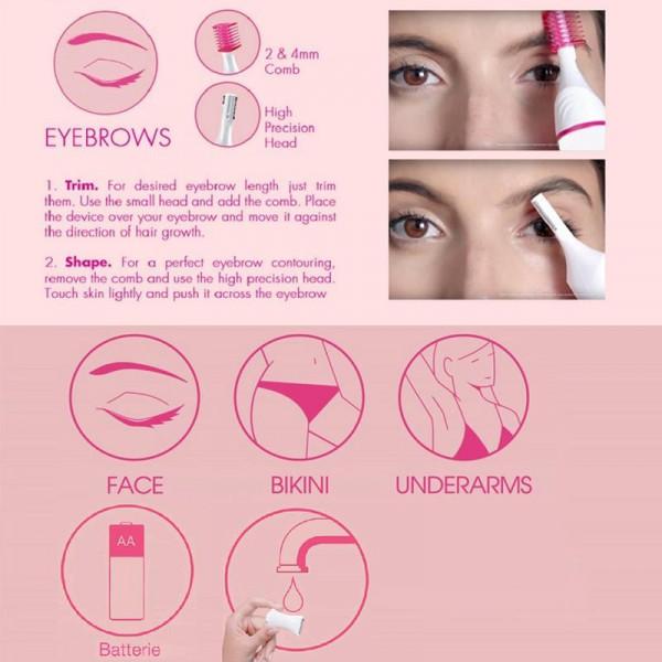 5-in-1 trimmer til hårfjerning: Øjenbrynstrimmer