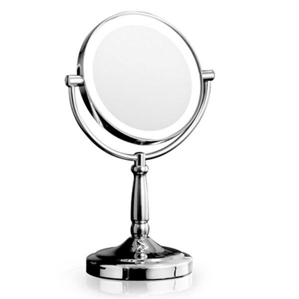 UNIQ Spejl med LED Lys & 5x forstørrelse på fod - medium