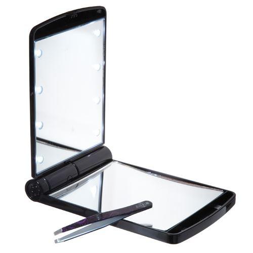 UNIQ Lommespejl / Makeup Spejl med LED Lys - sort