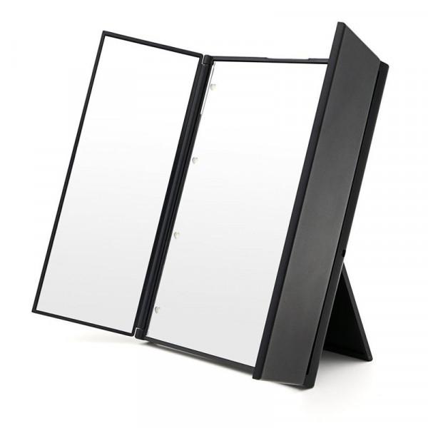 Trifold Kosmetik / Makeup Spejl med LED lys fra UNIQ, sort
