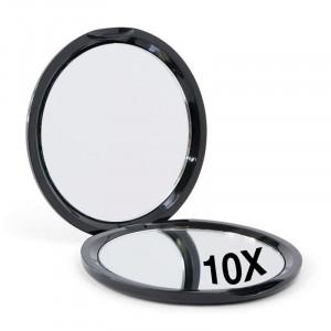 Kompakt dobbeltsidet spejl med x10 forstørrelse - Sort