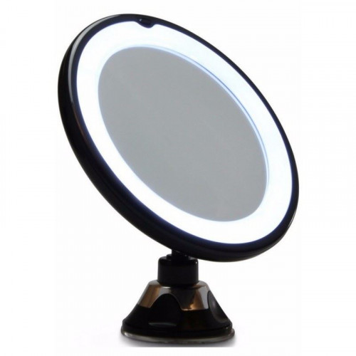 Rundt Spejl med LED Lys og sugekop x10 forstørrelse, UNIQ - Sort