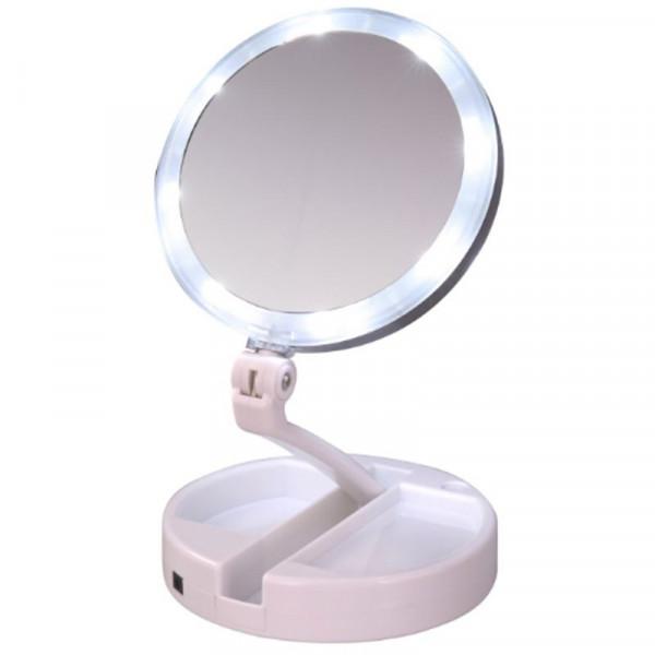 Foldbart Makeup spejl med lys LED og 10x forstørrelse, UNIQ -