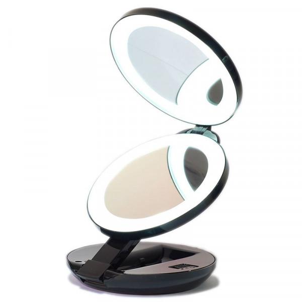 Kompakt dobbelt rejsespejl med LED (10x forstørrelse), UNIQ -