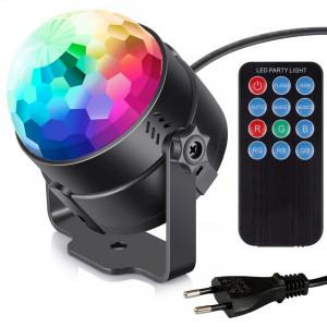 PartyLight Diskokugle med roterende LED lys og fjernbetjening