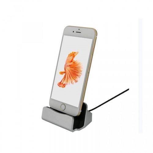 iPhone Charging Dock/Ladestation - USB med Lightning Stik, Sølv
