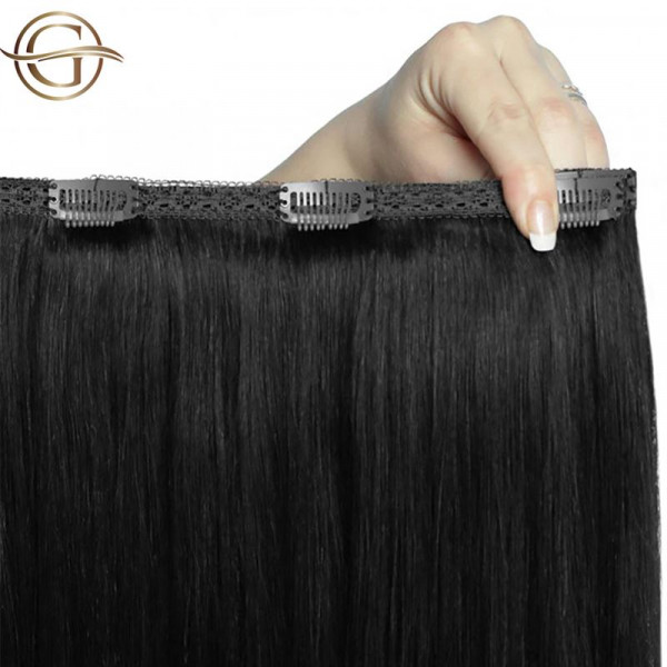 Clip-on Hair Extensions no.1 Sort - 7 sæt - 50 cm | Gold24