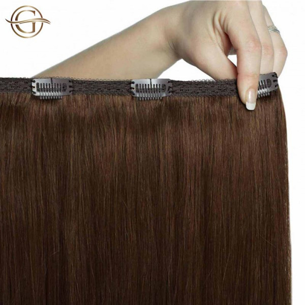 Clip-on Hair Extensions no.4 Brun - 7 sæt - 50 cm | Gold24