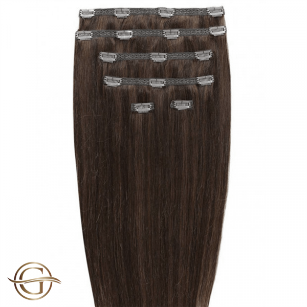 Clip-on Hair Extensions no.4 Brun - 7 sæt - 60 cm | Gold24