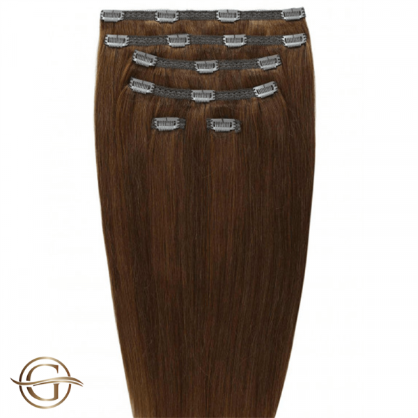 Clip-on Hair Extensions no.6 Lysbrun - 7 sæt - 60 cm | Gold24