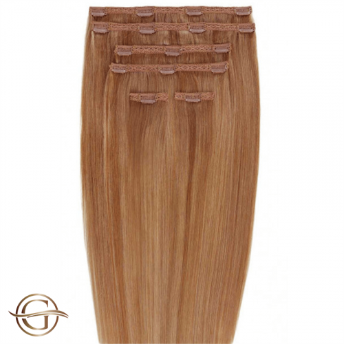 Clip-on Hair Extensions no.30 Kastanie - 7 sæt - 50 cm | Gold24