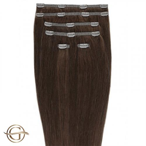 Clip-on Hair Extensions no.33 Rødbrun - 7 sæt - 50 cm | Gold24