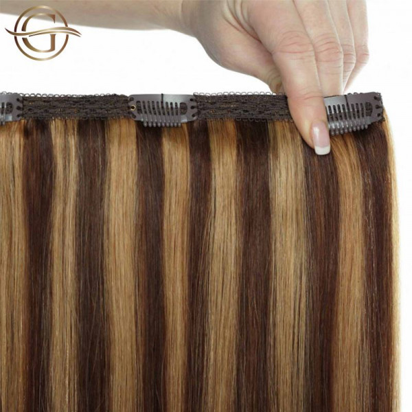Clip-on Hair Extensions no.4/27 Brown/Blonde Mix - 7 sæt - 60