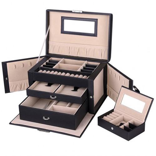 AVERY® XL Jewelry Box - 20 Rum (Sort Læder)